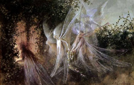 Fairies looking through a gothic arch by John Anster Fitzgerald