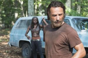 "Michonne is about to offer Rick a choice: ""You shave it or I will."""